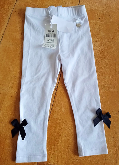 Le Chic White Leggings with Navy Bows