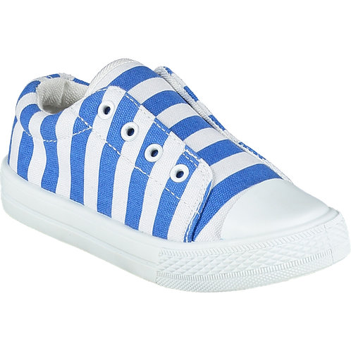 A Dee - Laceless Strong Blue Stripe Printed Canvas Trainer