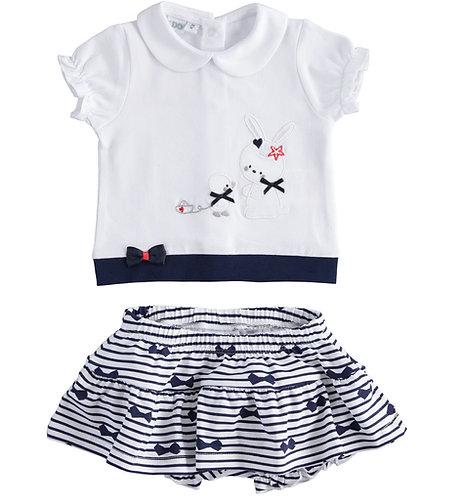 iDO - White & Navy T-Shirt  & Skirt Set