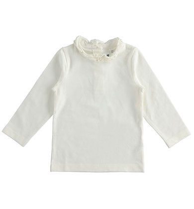 iDO - Cream T-shirt for girl with mock neck