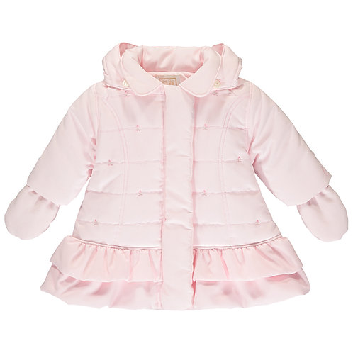 Trisha - Quilted microfibre Jacket with rose emb & frill