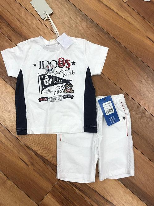 iDo - White & Navy T-Shirt & White Shorts