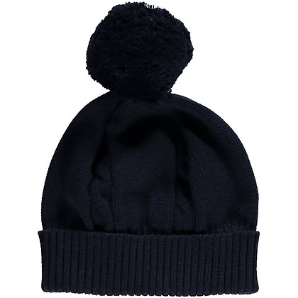 Fuzzy - Navy true knit cable bobble Hat