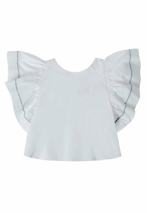 UBS2 - White Blouse Ruffle Sleeve