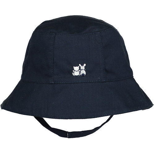 Gareth - Navy Fishermans Hat in woven with chin strap