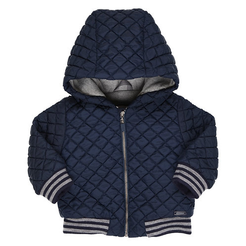 GYMP -  Navy Quilted Coat with Hood