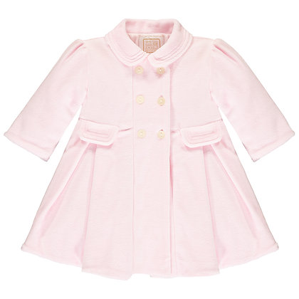Rosanna - Pink Velour padded Coat, with pleats & Beret