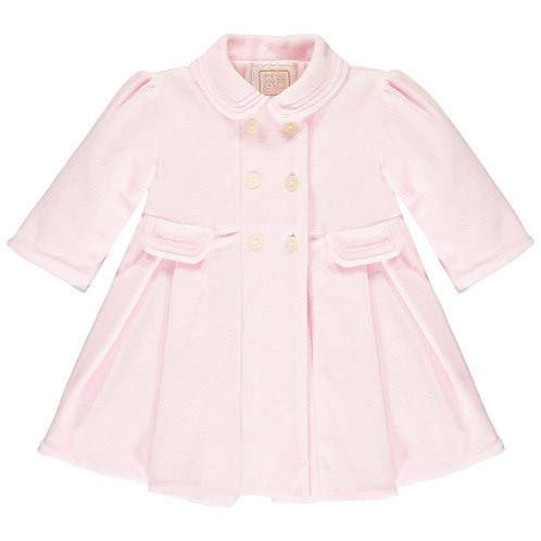 Rosanna - Pink Velour padded Coat, with pleats & Beret