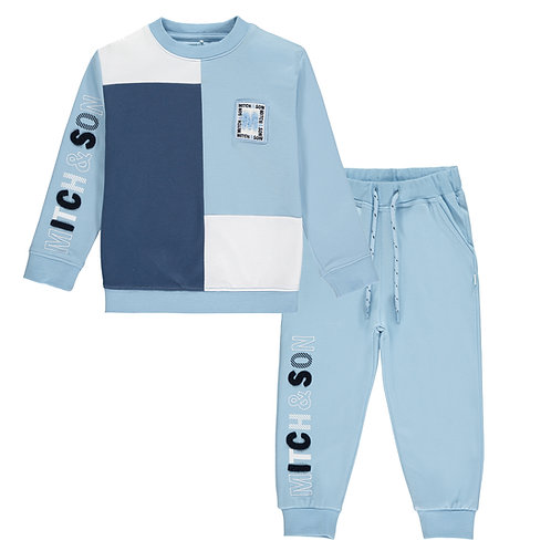 Mitch & Son - Piccadily Pale Blue Block Tracksuit