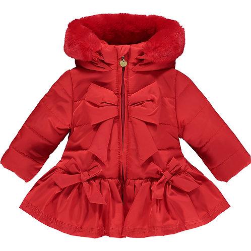 Little A - Bella Red Bow Faux Fur Trim Jacket