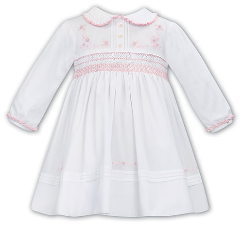 Sarah Louise - White and Pink Hand-Smocked Dress