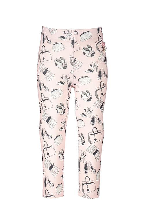 Le Chic - Pale Pink Shoe & Bag Print Leggings