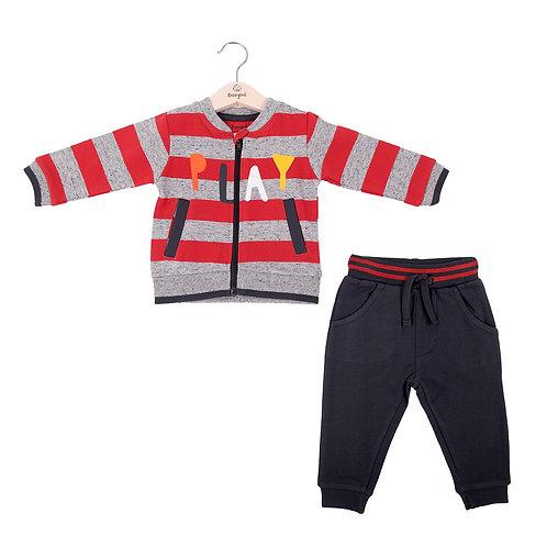 Babybol - Play Red Stripe Zip Up & Navy Ends