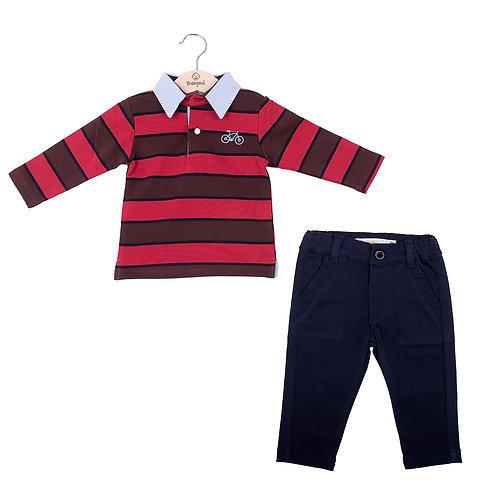 Babybol - Stripe Long Sleeve & Navy Pants