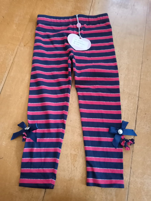 A Dee Pink and Blue Stripe Leggings