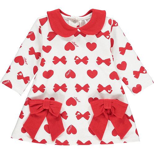 Little A - Bianca Bows & Heart Print Dress