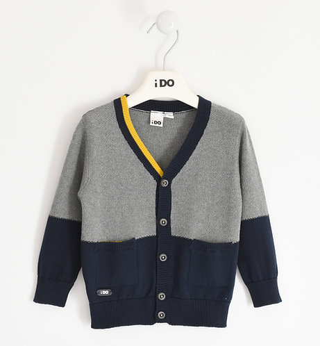 iDO - Grey and Navy Winter Cardigan