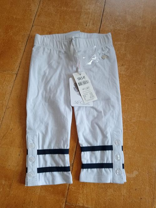 Le Chic White Leggings with Navy Band