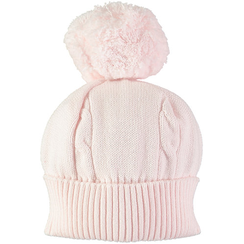 Fuzzy - Pink true knit cable bobble Hat