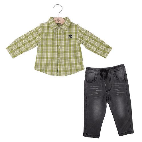 Babybol - 2 Piece Set Green Check Shirt