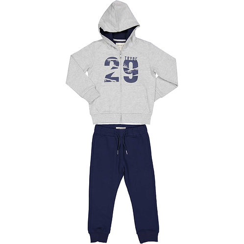 Trybeyond  - White Zip Up & Navy Tracksuit