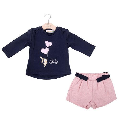 Babybol - Navy Top & Pink Shorts