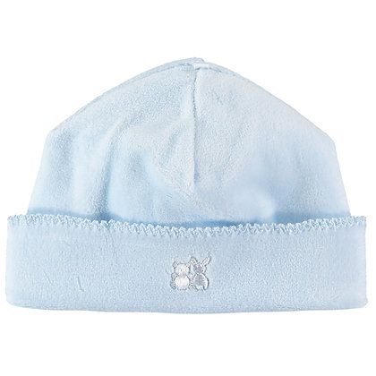 Novel - Velour pull on Hat with picot edge - Pale Blue
