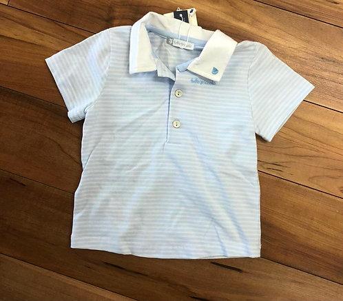 Tutto Piccolo - White & Blue Stripe Polo Shirt