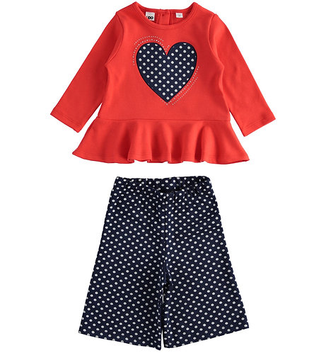 iDO - Set for girl in viscose blend with gaucho trousers