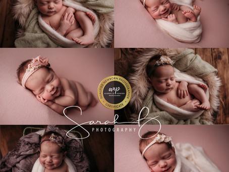 Little Miss Smiley. Brisbane Newborn baby smile photographer,