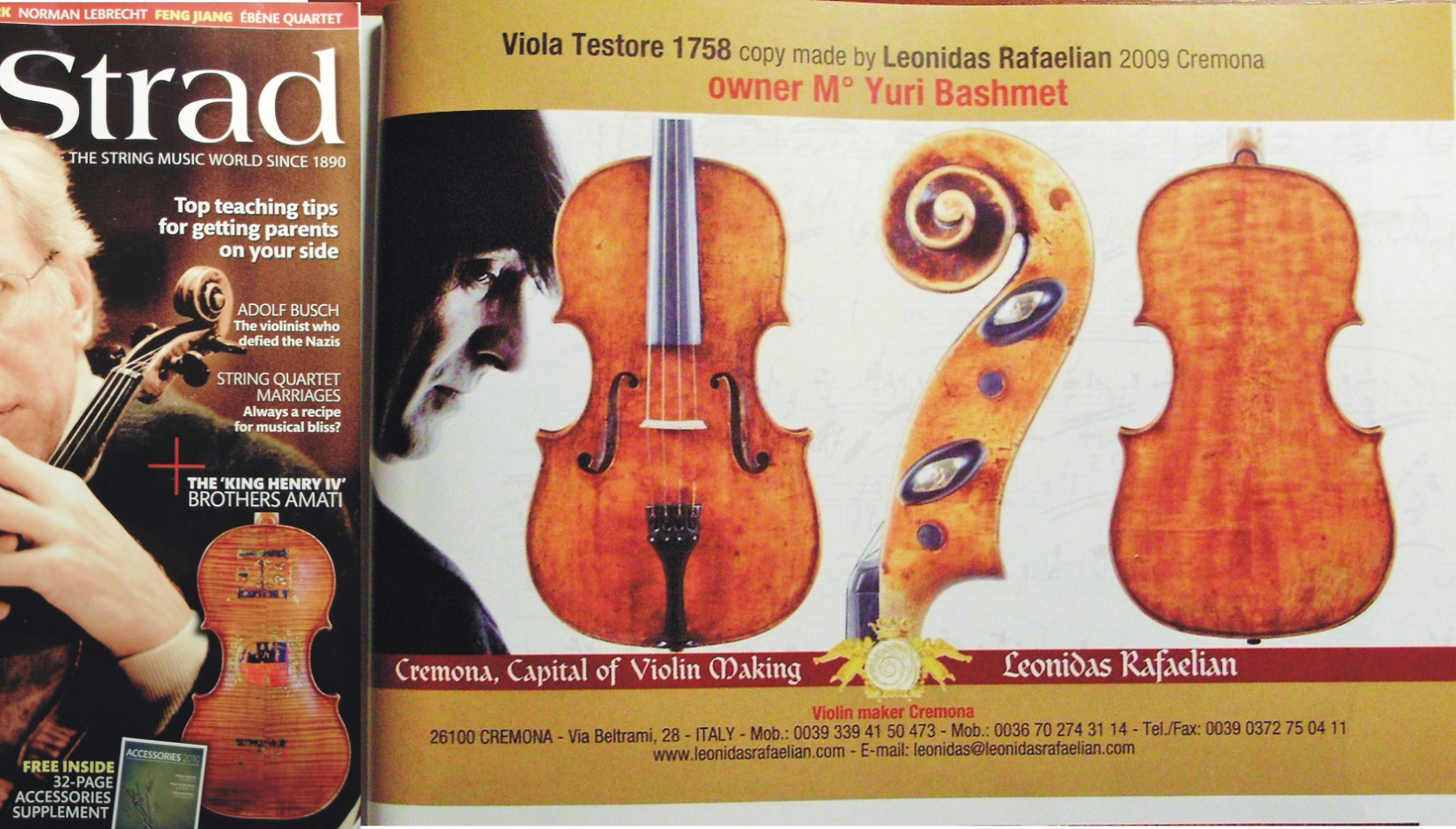 Magazine ad in Strad 2010/10