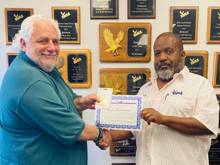 "Carlton ""Buck"" Williams Receives Eagle Transport WOW Award"