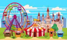 amusement-park-landscape-circus-carousels-carnival-attraction-entertainment-castle-ice-cre