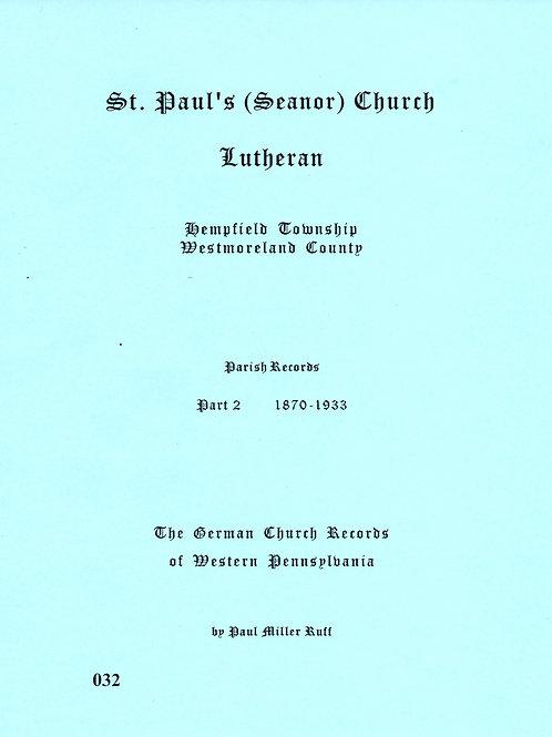 032 -St. Paul (Seanor) Lutheran-Part 2, 1870-1933,