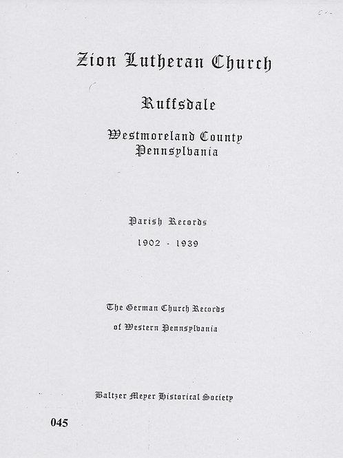 045 -Zion Lutheran, Ruffsdale, 1902-1939