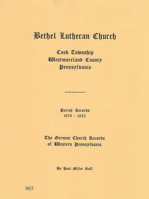 003 -Bethel Lutheran Church Parish records