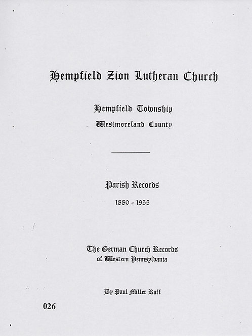 026 -Hempfield Zion Lutheran Church, 1880-1955