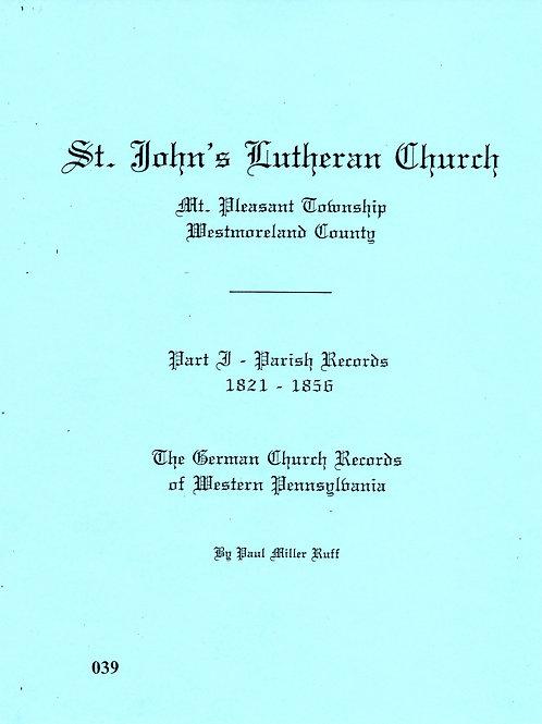 039 -St. John's Lutheran, Part 1, 1821-1856