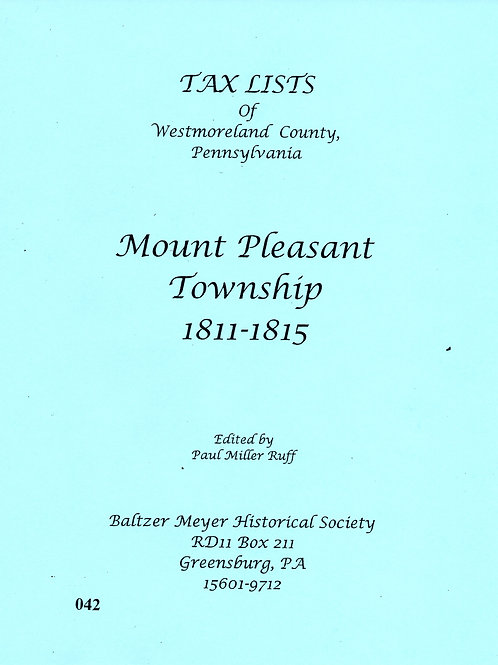 042 -Tax Lists of Mt. Pleasant, 1811-1815