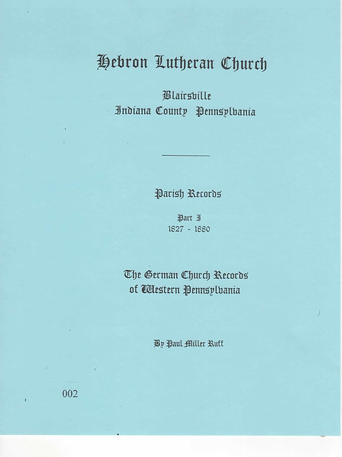 002 -Hebron Lutheran Church Parish Records