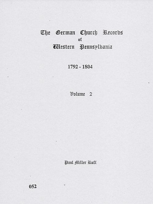 052 -German Church Records Vol. 2, 1792-1804