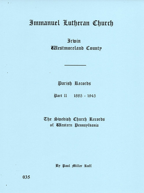 035 -Immanuel Lutheran (Swedish) Part 2, 1885-1945