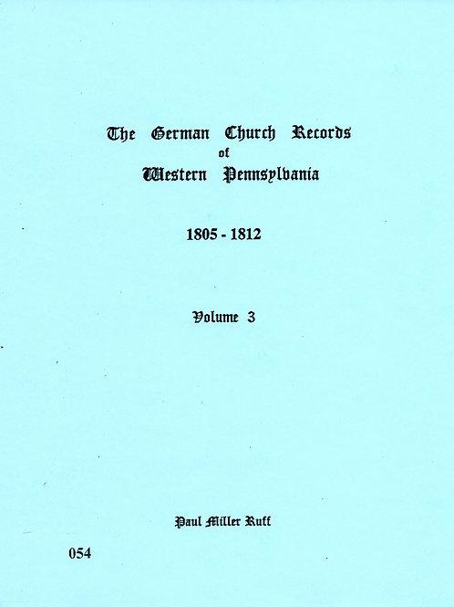 054 -German Church Records Vol. 3, 1805-1812