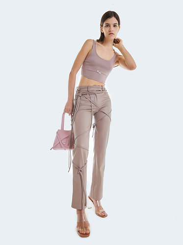 VEGAN LEATHER PANTS WITH STRAPS