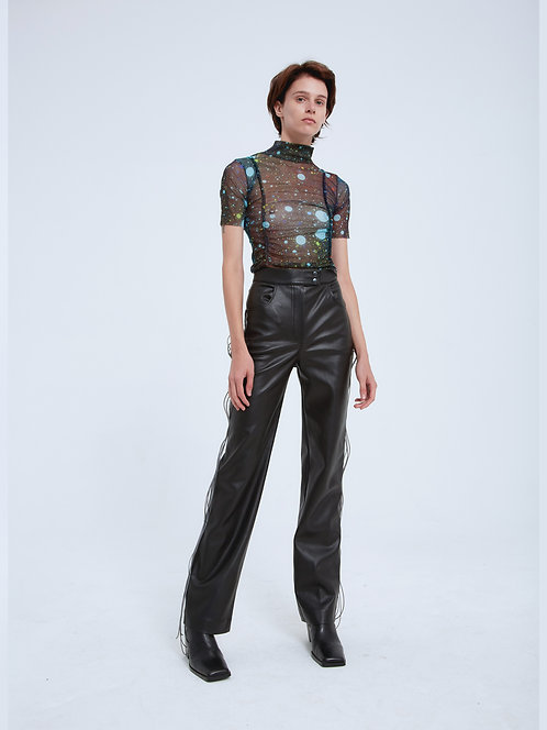 VEGAN LEATHER PANTS WITH CABLES