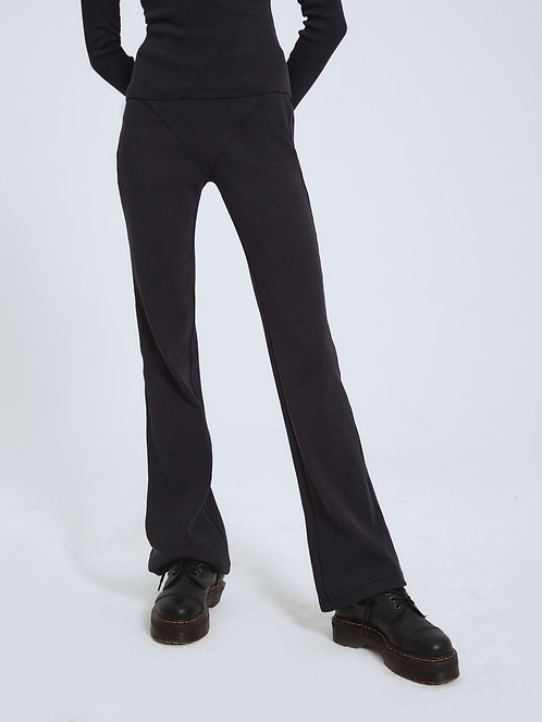 BLACK RIBBED TROUSERS