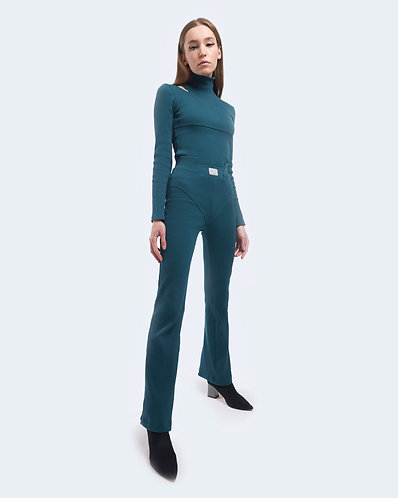 DARK GREEN RIBBED TROUSERS