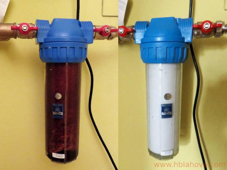 Filtr po bagrování (vlevo), nový filtr (vpravo)