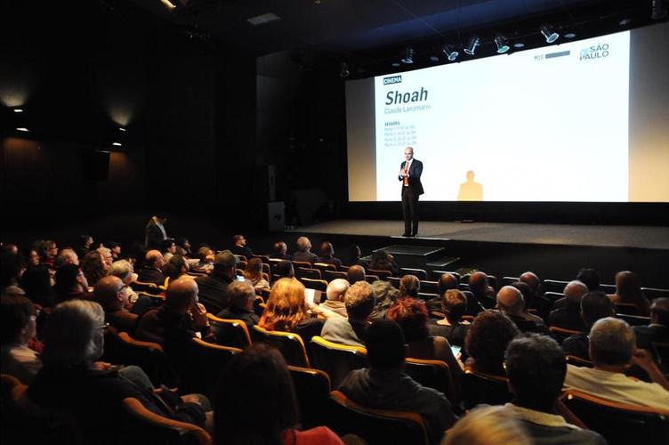 """Exibição do documentário """"Shoah"""" no MIs. Iniciativa da StandWithUs Brasil com FISESP e CONIB, 2019"""
