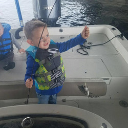 Excited for his first fish!